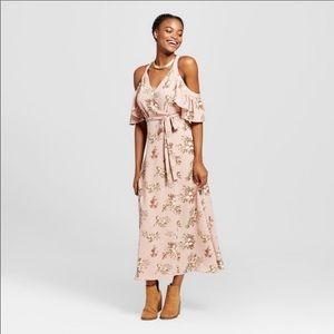 J by JOA Blush Pink Floral Off Shoulder Maxi Dress